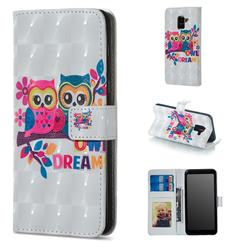 Couple Owl 3D Painted Leather Phone Wallet Case for Samsung Galaxy A8 2018 A530