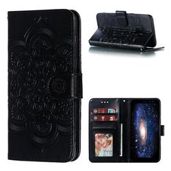 Intricate Embossing Datura Solar Leather Wallet Case for Samsung Galaxy A8 2018 A530 - Black