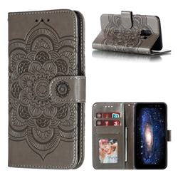 Intricate Embossing Datura Solar Leather Wallet Case for Samsung Galaxy A8 2018 A530 - Gray