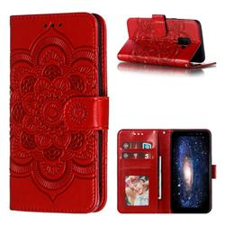 Intricate Embossing Datura Solar Leather Wallet Case for Samsung Galaxy A8 2018 A530 - Red
