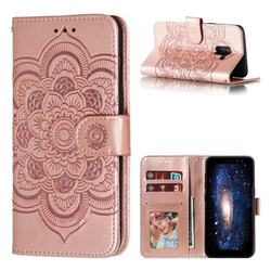 Intricate Embossing Datura Solar Leather Wallet Case for Samsung Galaxy A8 2018 A530 - Rose Gold