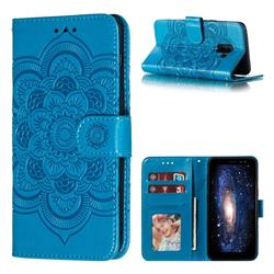Intricate Embossing Datura Solar Leather Wallet Case for Samsung Galaxy A8 2018 A530 - Blue