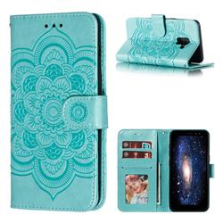 Intricate Embossing Datura Solar Leather Wallet Case for Samsung Galaxy A8 2018 A530 - Green