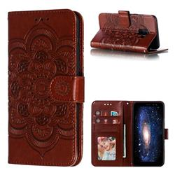 Intricate Embossing Datura Solar Leather Wallet Case for Samsung Galaxy A8 2018 A530 - Brown