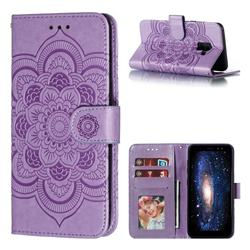 Intricate Embossing Datura Solar Leather Wallet Case for Samsung Galaxy A8 2018 A530 - Purple
