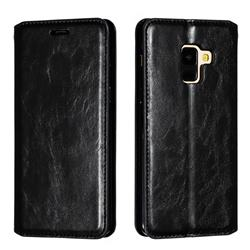 Retro Slim Magnetic Crazy Horse PU Leather Wallet Case for Samsung Galaxy A8 2018 A530 - Black