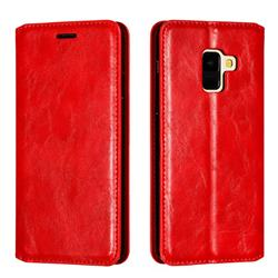 Retro Slim Magnetic Crazy Horse PU Leather Wallet Case for Samsung Galaxy A8 2018 A530 - Red
