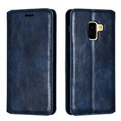 Retro Slim Magnetic Crazy Horse PU Leather Wallet Case for Samsung Galaxy A8 2018 A530 - Blue