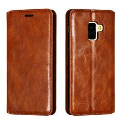 Retro Slim Magnetic Crazy Horse PU Leather Wallet Case for Samsung Galaxy A8 2018 A530 - Brown