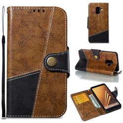 Retro Magnetic Stitching Wallet Flip Cover for Samsung Galaxy A8 2018 A530 - Brown