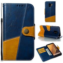 Retro Magnetic Stitching Wallet Flip Cover for Samsung Galaxy A8 2018 A530 - Blue