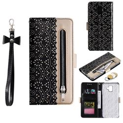 Luxury Lace Zipper Stitching Leather Phone Wallet Case for Samsung Galaxy A8 2018 A530 - Black