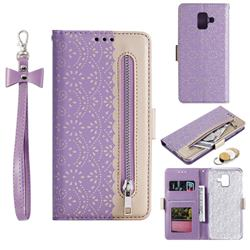 Luxury Lace Zipper Stitching Leather Phone Wallet Case for Samsung Galaxy A8 2018 A530 - Purple