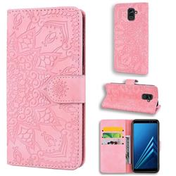 Retro Embossing Mandala Flower Leather Wallet Case for Samsung Galaxy A8 2018 A530 - Pink