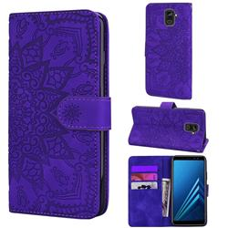Retro Embossing Mandala Flower Leather Wallet Case for Samsung Galaxy A8 2018 A530 - Purple