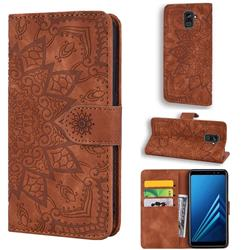 Retro Embossing Mandala Flower Leather Wallet Case for Samsung Galaxy A8 2018 A530 - Brown
