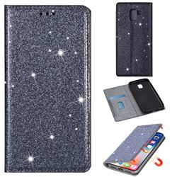 Ultra Slim Glitter Powder Magnetic Automatic Suction Leather Wallet Case for Samsung Galaxy A8 2018 A530 - Gray