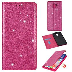 Ultra Slim Glitter Powder Magnetic Automatic Suction Leather Wallet Case for Samsung Galaxy A8 2018 A530 - Rose Red