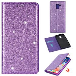 Ultra Slim Glitter Powder Magnetic Automatic Suction Leather Wallet Case for Samsung Galaxy A8 2018 A530 - Purple