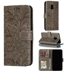 Intricate Embossing Lace Jasmine Flower Leather Wallet Case for Samsung Galaxy A8 2018 A530 - Gray