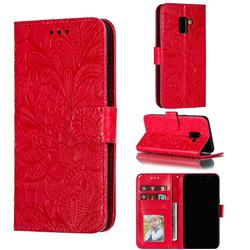 Intricate Embossing Lace Jasmine Flower Leather Wallet Case for Samsung Galaxy A8 2018 A530 - Red