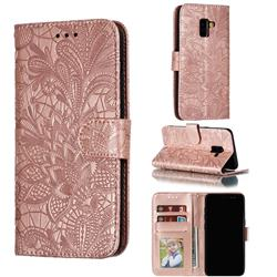 Intricate Embossing Lace Jasmine Flower Leather Wallet Case for Samsung Galaxy A8 2018 A530 - Rose Gold
