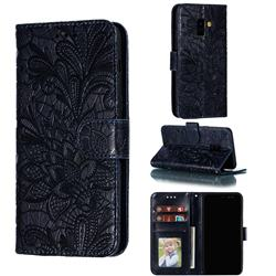 Intricate Embossing Lace Jasmine Flower Leather Wallet Case for Samsung Galaxy A8 2018 A530 - Dark Blue