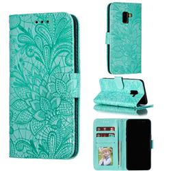 Intricate Embossing Lace Jasmine Flower Leather Wallet Case for Samsung Galaxy A8 2018 A530 - Green