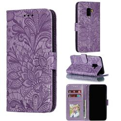Intricate Embossing Lace Jasmine Flower Leather Wallet Case for Samsung Galaxy A8 2018 A530 - Purple