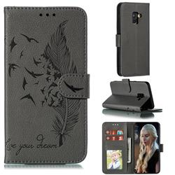 Intricate Embossing Lychee Feather Bird Leather Wallet Case for Samsung Galaxy A8 2018 A530 - Gray