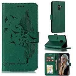 Intricate Embossing Lychee Feather Bird Leather Wallet Case for Samsung Galaxy A8 2018 A530 - Green