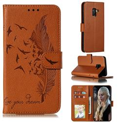 Intricate Embossing Lychee Feather Bird Leather Wallet Case for Samsung Galaxy A8 2018 A530 - Brown