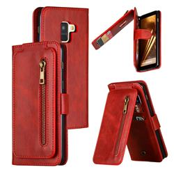 Multifunction 9 Cards Leather Zipper Wallet Phone Case for Samsung Galaxy A8 2018 A530 - Red