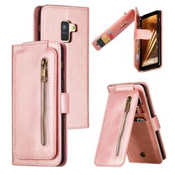 Multifunction 9 Cards Leather Zipper Wallet Phone Case for Samsung Galaxy A8 2018 A530 - Rose Gold