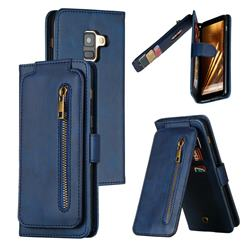 Multifunction 9 Cards Leather Zipper Wallet Phone Case for Samsung Galaxy A8 2018 A530 - Blue