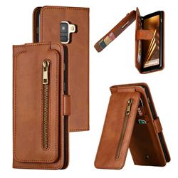 Multifunction 9 Cards Leather Zipper Wallet Phone Case for Samsung Galaxy A8 2018 A530 - Brown