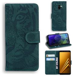 Intricate Embossing Tiger Face Leather Wallet Case for Samsung Galaxy A8 2018 A530 - Green