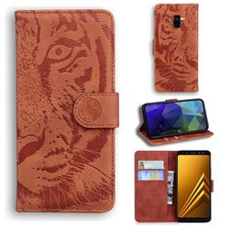Intricate Embossing Tiger Face Leather Wallet Case for Samsung Galaxy A8 2018 A530 - Brown