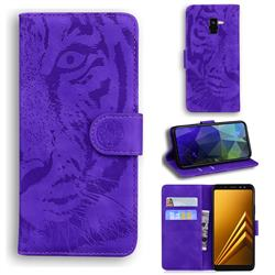 Intricate Embossing Tiger Face Leather Wallet Case for Samsung Galaxy A8 2018 A530 - Purple