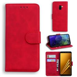 Retro Classic Skin Feel Leather Wallet Phone Case for Samsung Galaxy A8 2018 A530 - Red