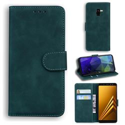 Retro Classic Skin Feel Leather Wallet Phone Case for Samsung Galaxy A8 2018 A530 - Green