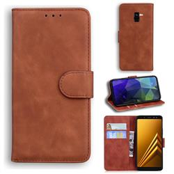 Retro Classic Skin Feel Leather Wallet Phone Case for Samsung Galaxy A8 2018 A530 - Brown