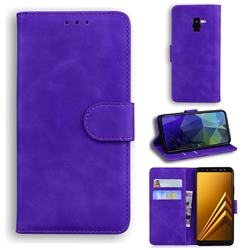 Retro Classic Skin Feel Leather Wallet Phone Case for Samsung Galaxy A8 2018 A530 - Purple