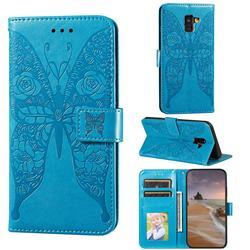 Intricate Embossing Rose Flower Butterfly Leather Wallet Case for Samsung Galaxy A8 2018 A530 - Blue