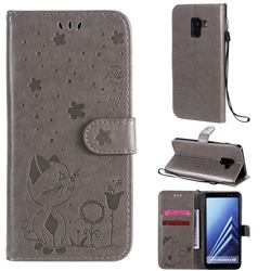 Embossing Bee and Cat Leather Wallet Case for Samsung Galaxy A8 2018 A530 - Gray
