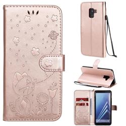Embossing Bee and Cat Leather Wallet Case for Samsung Galaxy A8 2018 A530 - Rose Gold