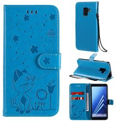 Embossing Bee and Cat Leather Wallet Case for Samsung Galaxy A8 2018 A530 - Blue