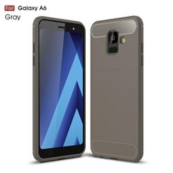 Luxury Carbon Fiber Brushed Wire Drawing Silicone TPU Back Cover for Samsung Galaxy A6 (2018) - Gray