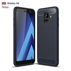 Luxury Carbon Fiber Brushed Wire Drawing Silicone TPU Back Cover for Samsung Galaxy A6 (2018) - Navy