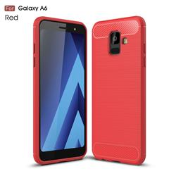Luxury Carbon Fiber Brushed Wire Drawing Silicone TPU Back Cover for Samsung Galaxy A6 (2018) - Red